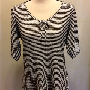 Lucky Brand Black and White Striped Shirt XL
